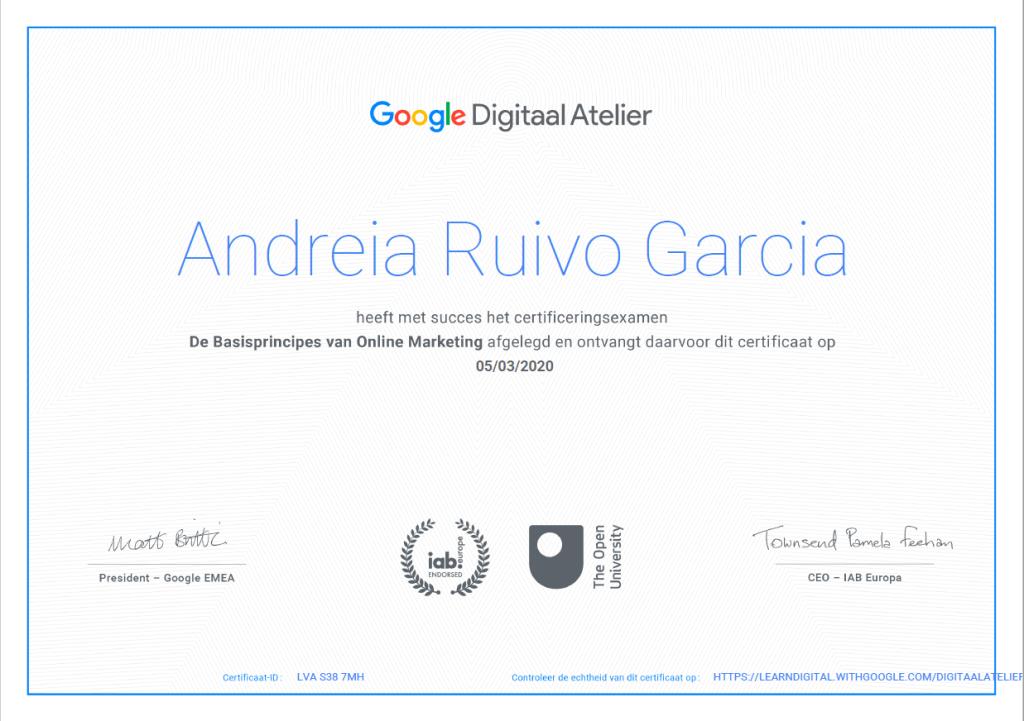 Google Digitaal Atelier diploma